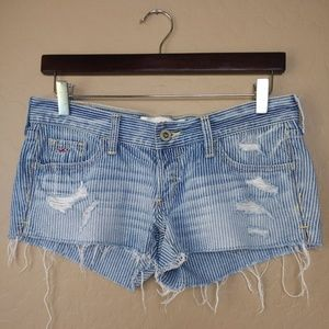 Hollister Distressed Striped Cutoff Denim Shorts